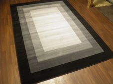 Modern Approx 8x5ft 160x230cm Woven Square Designs Rugs Black Grey Bargain Price